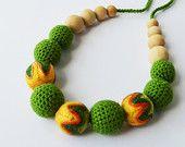 Зеленый хлопок деревянной кормящих ожерелье - ожерелье крючком для мамы и ребенка - Прорезывание зубов ожерелье