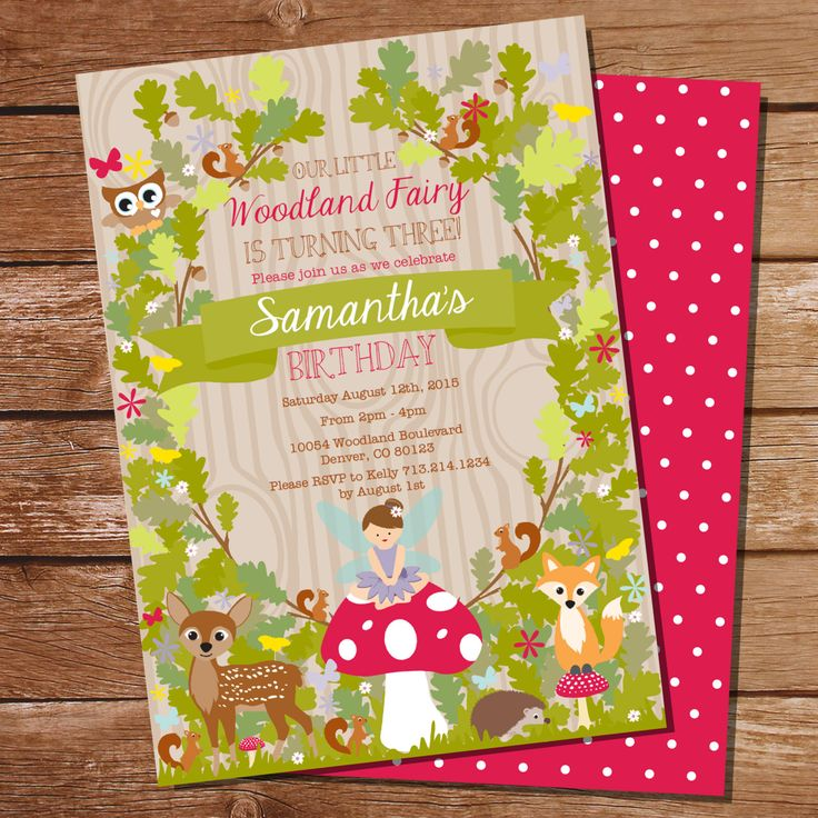 Woodland Fairy Party Invitation Woodland by SunshineParties