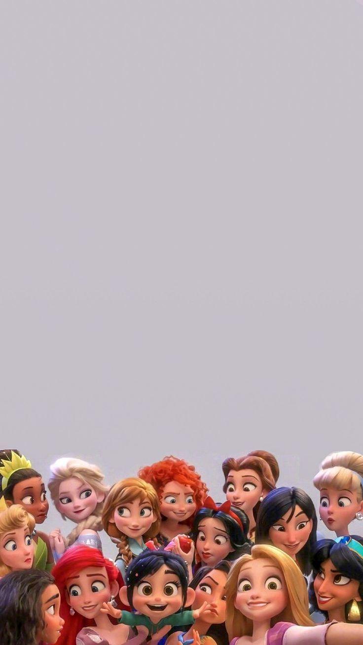 Fondo De Pantalla Para Celular De Disney Wallpaper De Princesas En La Pelicula Ralph Rompe Int En 2020 Fondos De Princesas Fondos De Disney Para Telefonos Arte Disney