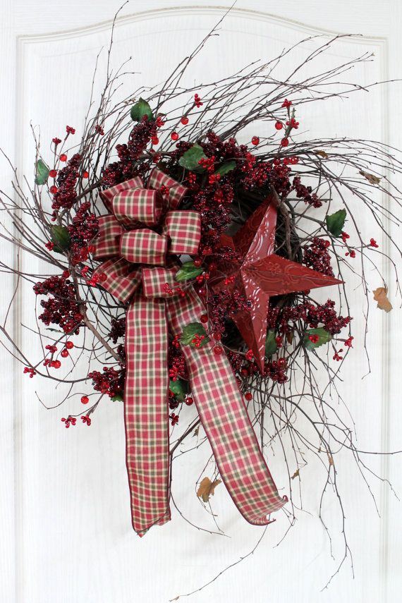 Country Primitive Berry Wreath Red Star