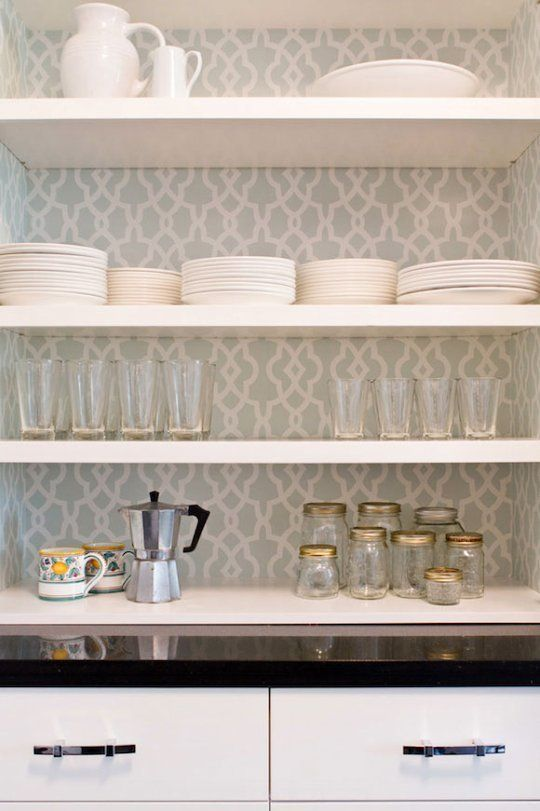 Five Ways to Customize Kitchen Cabinets with Colored Contact Paper- I love the open display with the chic backsplash!