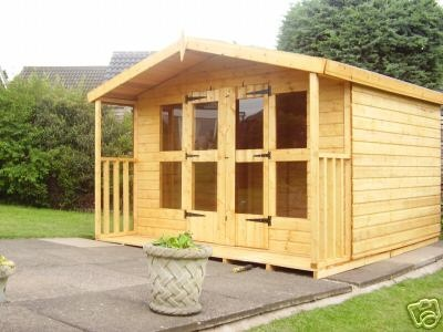 Garden Shed Summer House 8 x 6 + 2ft Porch WE DELIVER TO SCOTLAND   eBay