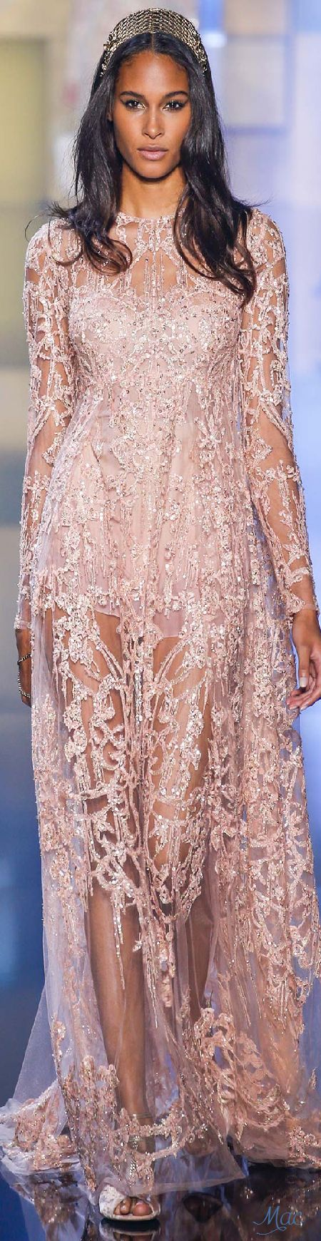 Elie Saab ~ Sequinned + Embroidered Blush Sheer Gown, Fall 2015