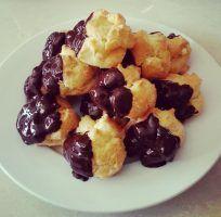 Choc Dipped Cream Puffs w/ Custard Filling