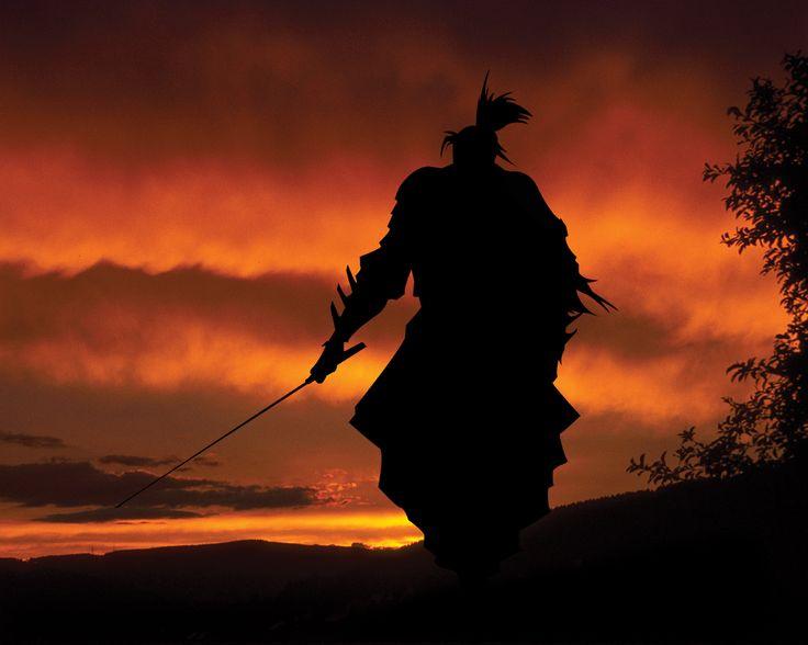 Fantaisie Samourai  Guerrier(ère) Sombre Shadow Rouge Ciel Epée Coucher De…
