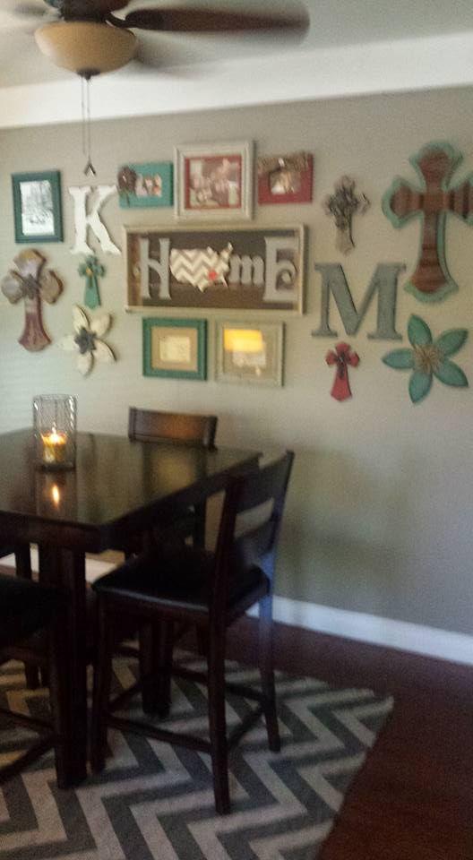 dining area, collage wall, americana, cross wall art, home goods, hobby lobby, kirklands, at home, garden ridge, chevron rug