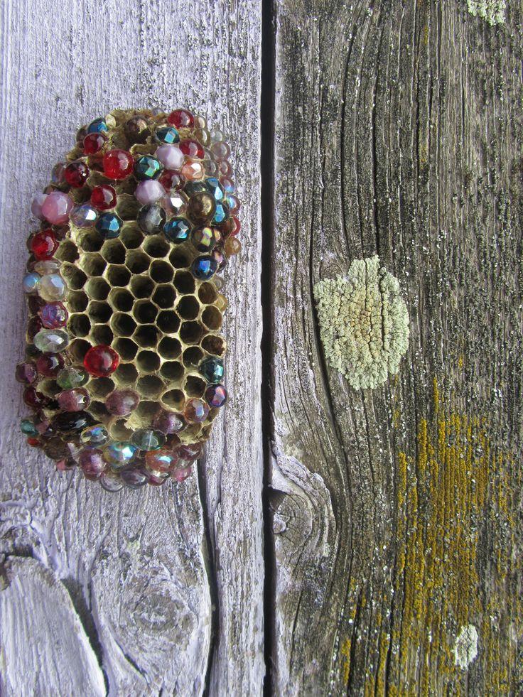Nesnesitelná+lehkost+bytí+-+brož+Nová+mini+kolekce+broží+z+přírodnin+v+kombinaci+s+mačkanými+skleněnými+perlami.+Brož+z+vosího+hnízda+dolpněno+skleněnými+korálky+zalito+kříšťálovou+pryskyřicí+a+malováno+akrylovými+barvamy+s+perletí.