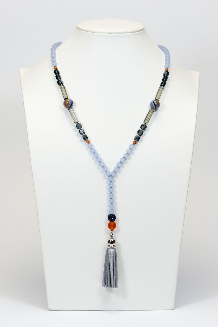 Collier bleu gris pompon gris #gadhorre #jewelry
