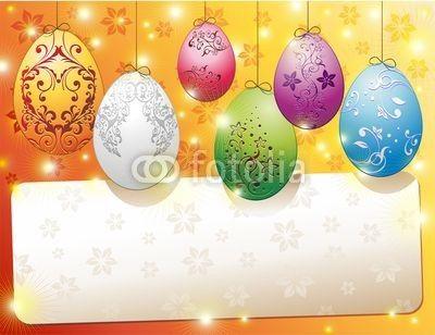 Easter Eggs Banner Card-Vector © bluedarkat: Banners Auguri East, Banners Cardvector, Uova Banners, Eggs Banners, Banners Cards Vector