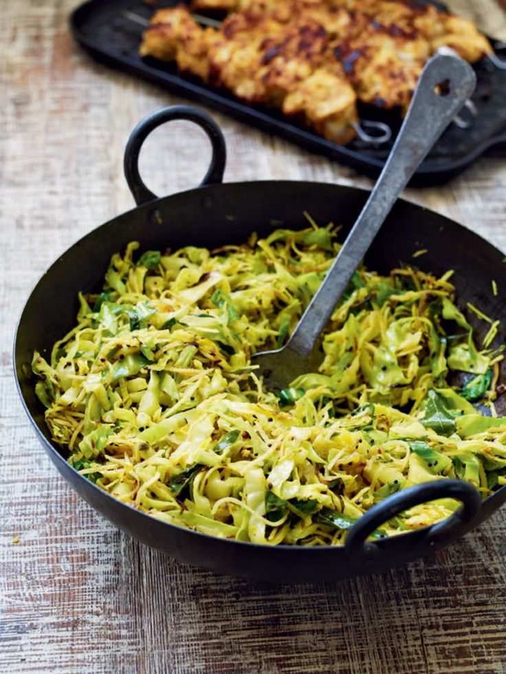 Cabbage is made exciting and exotic in this Keralan stir-fry dish from Debbie Major. Try using diced lamb leg steaks instead of chicken, for a richer flavour.