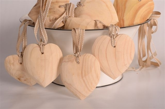Wooden hearts scented on petersham ribbon can be used as a decoration or wedding favour 100 x 100mm