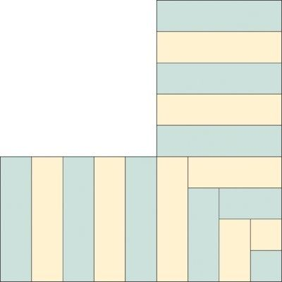 Piano keys quilt border -- nice solution for the awkward corners.