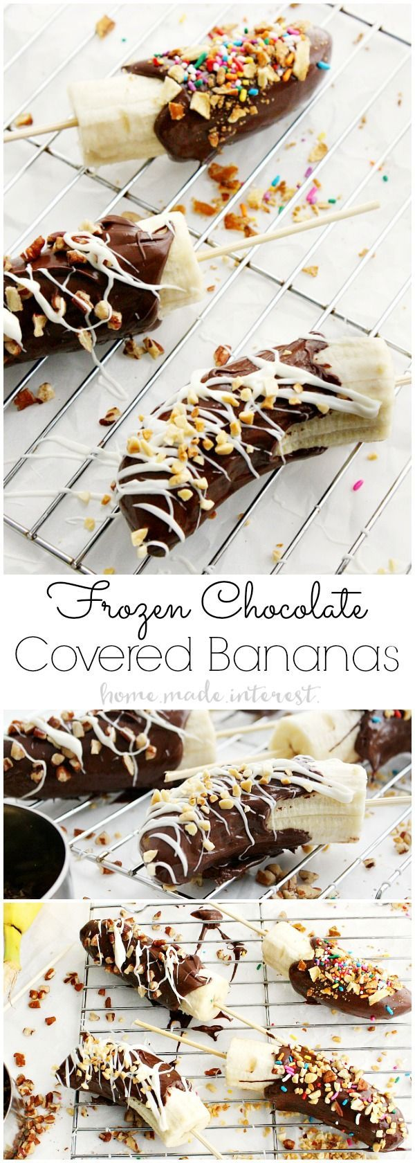 Frozen Chocolate Covered Bananas were always one of my favorite after school snacks and now my kids love this easy snack just as much as I do! This Frozen Chocolate Covered Bananas recipe is easy to make and your kids can have fun sprinkling them with their favorite toppings. Then freeze them for a frozen banana snack! AmznUnderground | ad