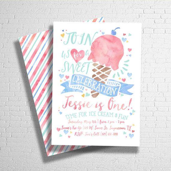 Ice Cream Birthday Invitation Sweet Celebration by ohbejoyfulshop