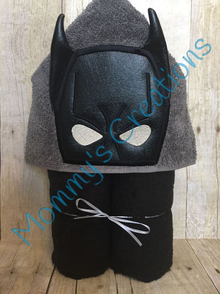 "Bat Hero Applique Hooded Bath Towel, Beach Towel 30"" x 54"" by MommysCraftCreations on Etsy"