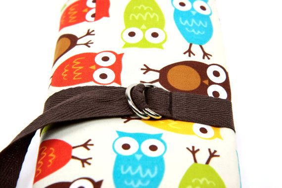 Shoply.com -SHORT - Dpn or Circular Knitting Needle Organizer Case - URBAN OWLS - 24 brown pockets. Only $32.95