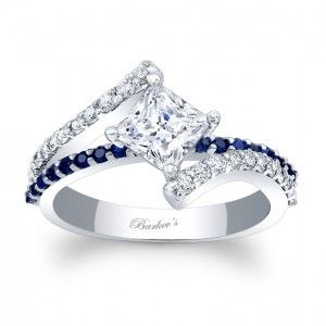 Blue Sapphire Engagement Ring 7976LBSW