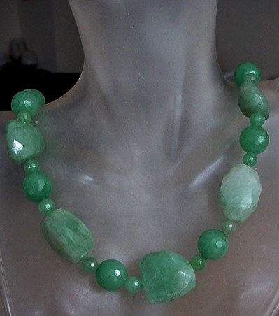 Green Faceted Irregular and Round Aventurine Beads c/w by camexinc