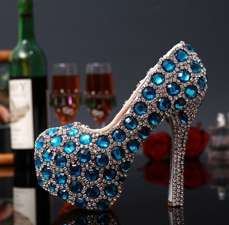 Primavera lusso nobili scarpe da sposa glamour lucido turchese di cristallo due piani tacco a spillo pompe della piattaforma punta rotonda scarpa per la donna(China (Mainland))