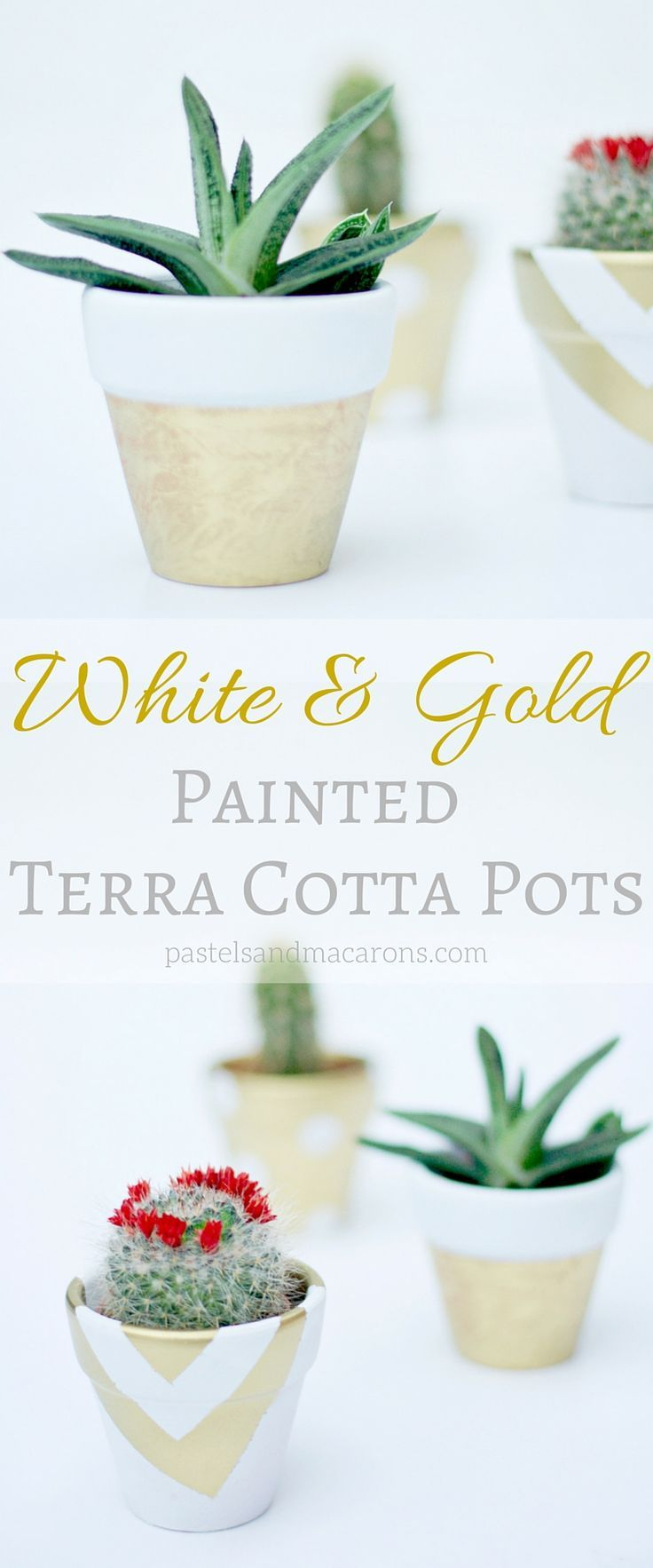 I Love These White And Gold Painted Terra Cotta Pots They Are Super Easy And Are So Cute Terra Cotta Pot Crafts Painted Terra Cotta Pots Terracotta Pots