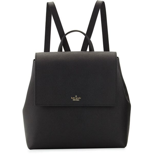 kate spade new york cameron street neema leather backpack (£275) ❤ liked on Polyvore featuring bags, backpacks, backpack, black, kate spade backpack, leather daypack, flat backpack, leather backpacks and leather zipper backpack