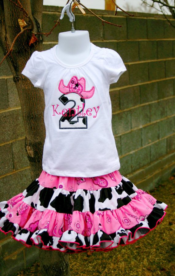 Ari's Angels  Pink Cowgirl Birthday outfit Monogrammed Personalized Shirt & Full Twirling Skirt on Etsy, $70.00