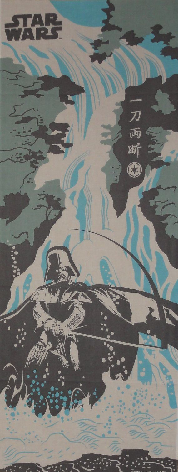 Star Wars Darth Vader and Waterfall Motif Cotton Fabric Japanese Tenugui Cloth w/Free Insured Shipping