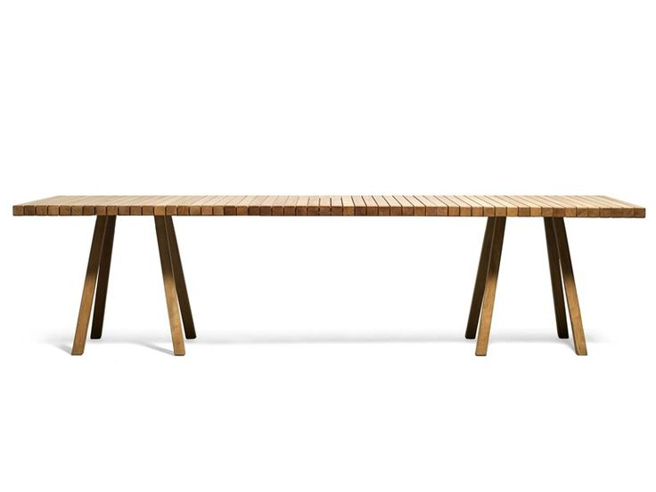 Rectangular wooden garden table VIS À VIS | Garden table - TRIBÙ