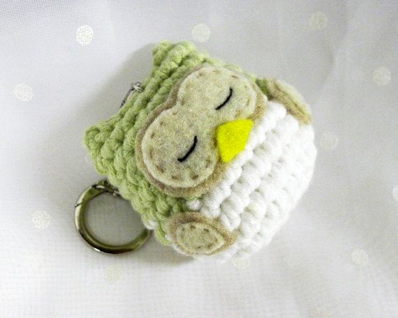 Amigurumi Crocheted Sleeping Owl Keychain by TheWanderingPanda, $10.00