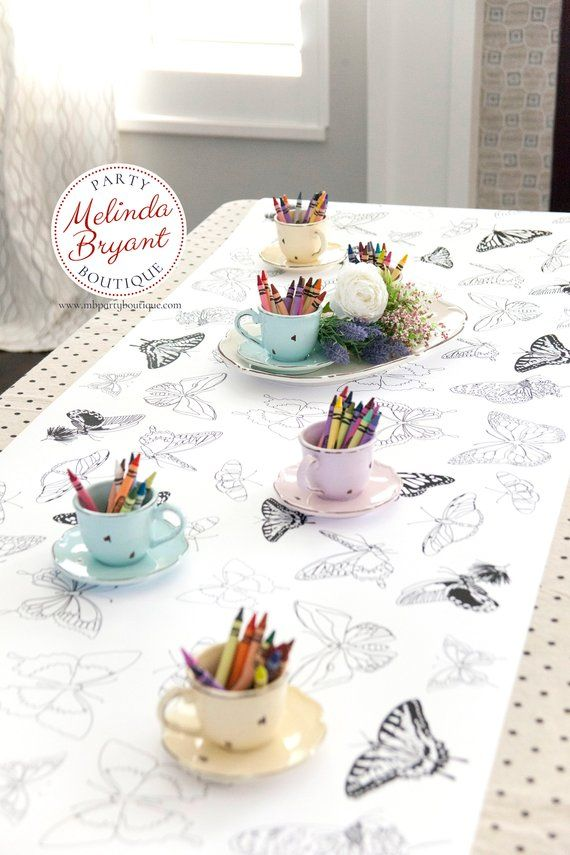 Butterfly Party Table Runner Or Large Coloring Page Childrens Etsy Tea Party Birthday Childrens Tea Party Fairy Tea Parties