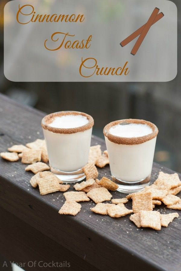 Cinnamon Toast Crunch shot: 2 ounces Rum Chata 1 ounce Fireball cinnamon & sugar to rim the glasses (3 sugar : 1 cinnamon) Rim two shot glasses with the cinnamon & sugar mixture. In a shaker, add ice and all of the ingredients above. Shake and strain into the shot glasses