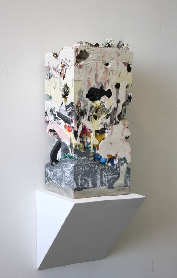 """Jack Henry. Untitled (Core Sample #14), 2012. 20""""x9""""x9"""". Gypsum, cement, acrylic and found objects."""