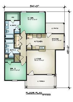 1059 SF - Floor Plan ... This could totally work for me :) Except a custom glass walk-in shower in the main bath instead of another bathtub