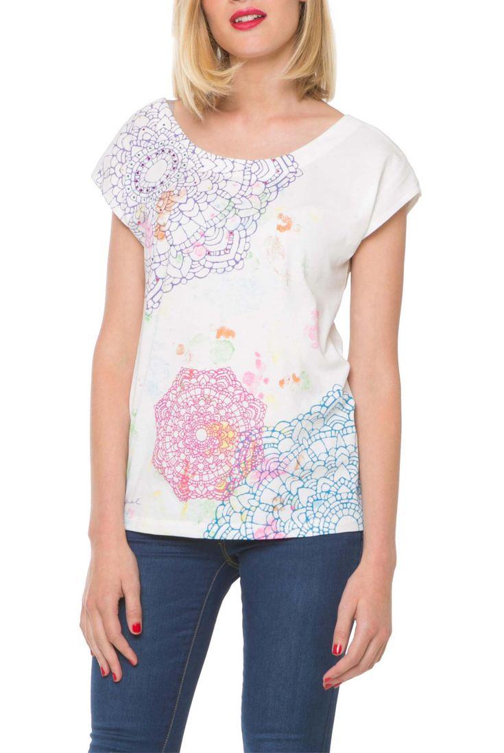 Desigual bílé tričko Esmeralda