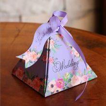 Decorações de casamento Caixa de Doces Caixa de Doces Floral Com Fita e Cartão de Casamento Favores E Presentes Do Chuveiro Do Bebê Caixas de Bombons(China (Mainland))