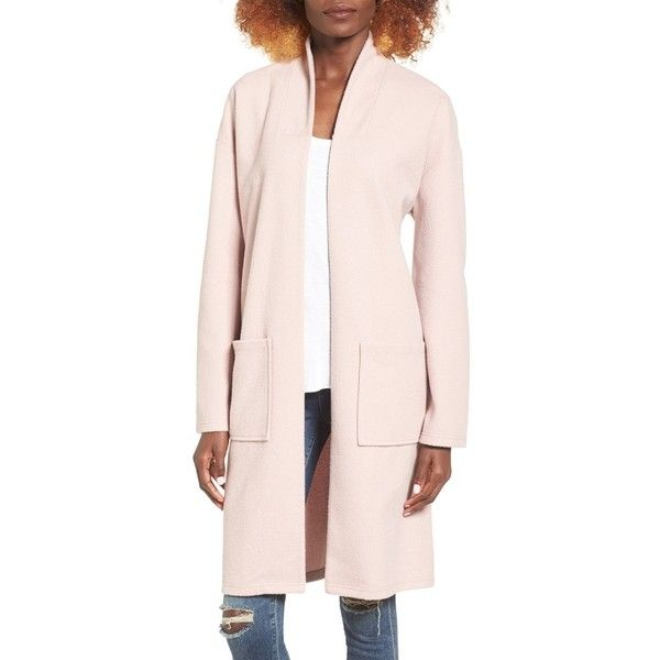 Women's Leith Midi Coat ($89) ❤ liked on Polyvore featuring outerwear, coats, pink night, calf length coat, leith, shawl collar coats and pink coat