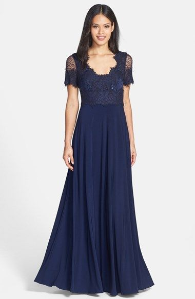 JS Collections Scalloped Lace & Jersey Gown available at #Nordstrom