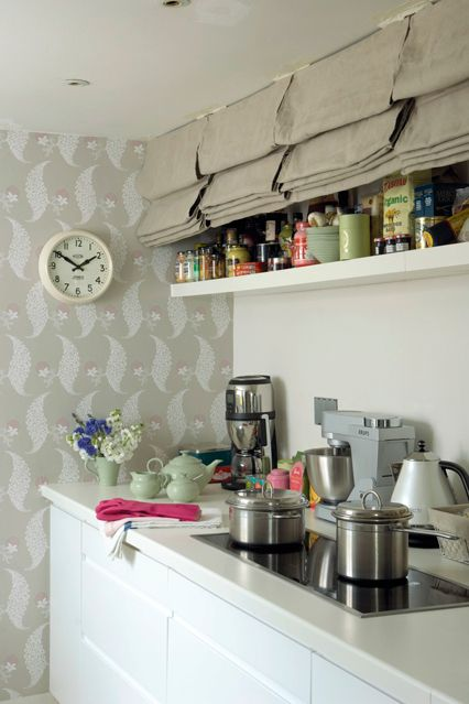 Roman Blinds - Upcycle & Update Pre-Loved Pieces (houseandgarden.co.uk).  Good storage idea for next time for a small kitchen
