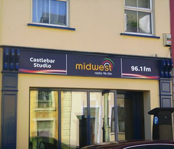 Project: Shop front office signage Client: Midwest Radio, Castlebar, Co. Mayo, Ireland.