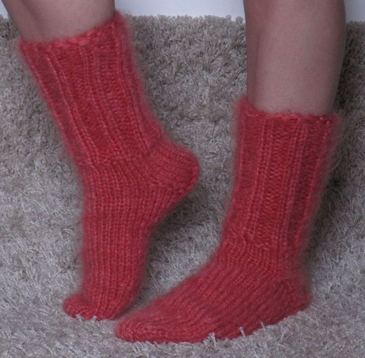 MOHAIR Hand knitted CORAL RED unisex socks Fuzzy handcrafted soft leg warmers #Handmade #Ribbed