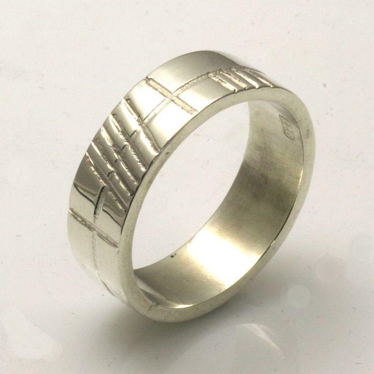 "Old Irish font Ogham ""Anam Cara"" Soul Mate in silver wedding ring"
