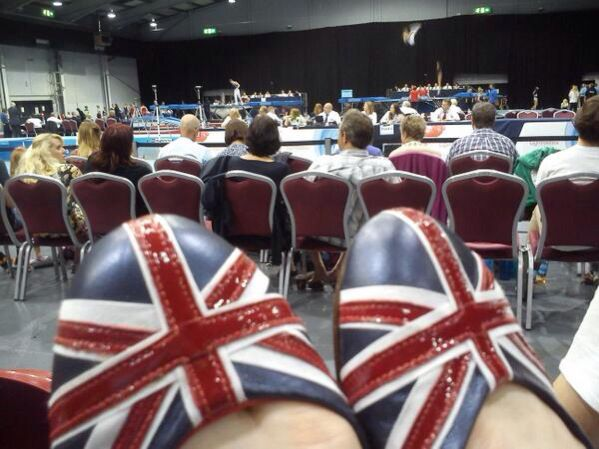 The British Flat Union Jack shoe worn by Kat Driscoll at a competition.