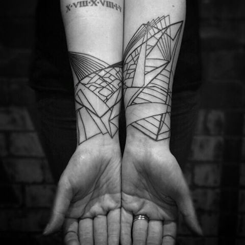 Abstract perspective pattern for Bex. Love doing this sort of thing. Thank you. ------------------------------- For appointments email: marknoeltattoo@gmail.com ------------------------------- #marknoel #tattoo #tattoos #tattoomelbourne #tattooaustralia #melbournetattoo  #dotwork #blackwork #blackink  #origami #papercrane #forearmtattoo #abstract #patterns  #lines #linework #lineart  #blacktattooart  #blacktattoomag #onlyblackart  #tttism #TAOT #Blackworkerssubmission…