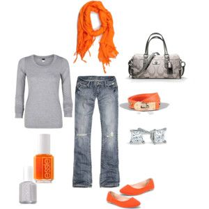 I am so in love with orange.  I NEED this outfit!: Shoes, Colors Combos, Colors Pop, Dreams Closet, Pop Of Colors, Orange Grey, Cute Outfits, Scarves, Accessories