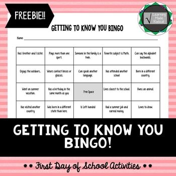 First Day of School Activity - BINGO Looking for a first day activity that gets students moving around and interacting with one another? This will be your pick! It is a fun first day activity that get gets students talking with one another and learning something new as well.