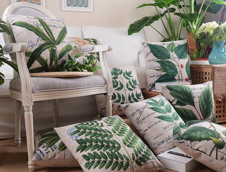Goedkope Hot thuis decoratieve groene bladeren kussen s, Natuursteen bank…