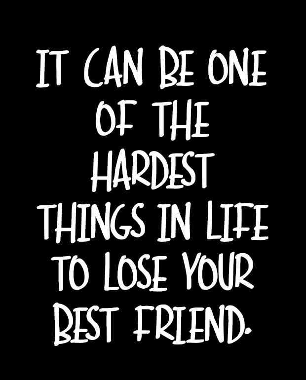 """It can be one of the hardest things in life to lose your best friend."""