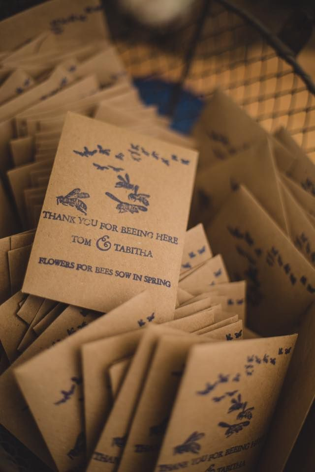 Bee-autiful wedding favour seed packets stamped up with an English Stamp Company custom stamp.