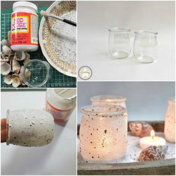 Die zijn zo cute en heel eenvoudig om te maken. Kleine potjes (van toetjes bv.) en schelpen zand zijn de belangrijkste benodigheden om dit DIY te kunnen maken...Film met uitleg