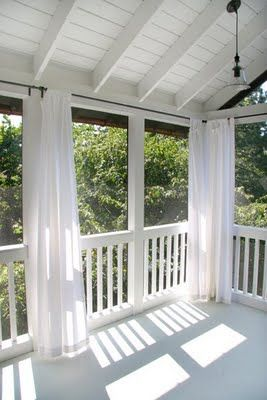 Back Porch With Curtains...would Be Great To Block A Setting Sun Or